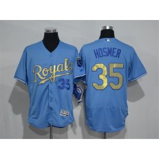 MLB Kansas City Royals 35 Eric Hosmer Retired Light Blue 2015 World Series Champions Gold Program Flex Base Men Jersey