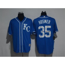 MLB Kansas City Royals 35 Eric Hosmer Retired Royal Blue Team Logo Ornamented Stitched Majestic Cool Base Men Jersey