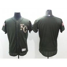 MLB Kansas City Royals Blank Green Salute To Service 2016 Flexbase Majestic Baseball Men Jersey