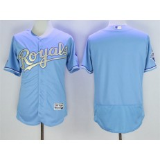 MLB Kansas City Royals Blank Light Blue 2015 World Series Champions Gold Program FlexBase Men Jersey