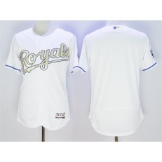 MLB Kansas City Royals Blank Majestic White World Series Champions Gold Program FlexBase Player Men Jersey
