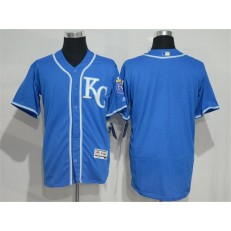 MLB Kansas City Royals Blank Navy Blue KC 2016 Flexbase Majestic Baseball Men Jersey
