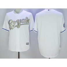 MLB Kansas City Royals Blank White 2016 World Series Champions Gold Program Cool Base Stitched Men Jersey