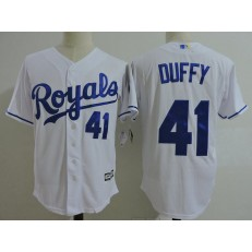 MLB Kansas City Royals Coach 41 Danny Duffy White Home Cool Base Baseball Men Jersey