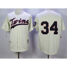 MLB Minnesota Twins 34 Kirby Puckett Retired 1969 Cream Pinstirpe Mitchell & Ness Throwback Men Jersey