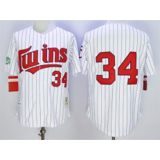MLB Minnesota Twins 34 Kirby Puckett Retired 1991 White Pinstirpe Mitchell & Ness Throwback Men Jersey