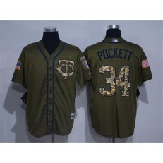 MLB Minnesota Twins 34 Kirby Puckett Retired Green Salute to Service Cool Base Stitched Men Jersey