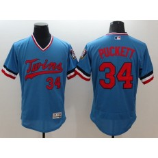 MLB Minnesota Twins 34 Kirby Puckett Retired Light Blue Pullover 2016 Flexbase Majestic Baseball Men Jersey