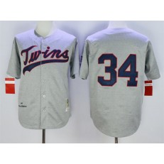 MLB Minnesota Twins 34 Kirby Puckett Retired Road 1969 Gray Wool Mitchell & Ness Throwback Men Jersey