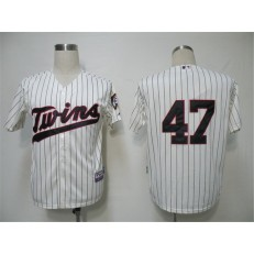 MLB Minnesota Twins 47 Francisco Liriano Cream Blue Strip Cool Base Men Jersey