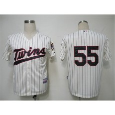 MLB Minnesota Twins 55 Matt Capps Cream Blue Strip Cool Base Men Jersey