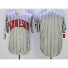 MLB Minnesota Twins Blank Retired 1987 Gray Pinstirpe Mitchell & Ness Throwback Men Jersey