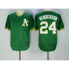 MLB Mitchell And Ness Oakland Athletics 24 Rickey Henderson Green Pullover Throwback Cooperstown Collection Stitched Men Jersey