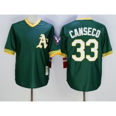 MLB Mitchell And Ness Oakland Athletics 33 Jose Canseco Green Throwback Stitched Baseball Jersey