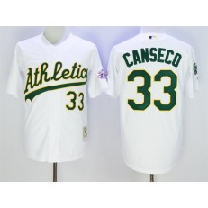 MLB Mitchell And Ness Oakland Athletics 33 Jose Canseco White Throwback Stitched Men Jersey