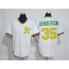 MLB Mitchell And Ness Oakland Athletics 35 Rickey Henderson White Pullover Throwback Men Jersey