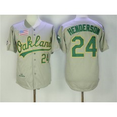 MLB Oakland Athletics 24 Rickey Henderson Gray 1989 Throwback Men Jersey