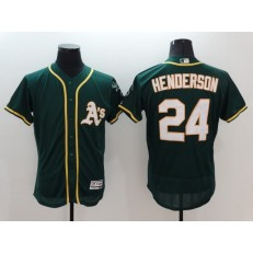 MLB Oakland Athletics 24 Rickey Henderson Green Flexbase Authentic Collection Stitched Baseball Men Jersey