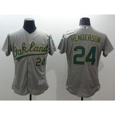 MLB Oakland Athletics 24 Rickey Henderson Grey Flexbase Authentic Collection Stitched Baseball Men Jersey