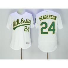 MLB Oakland Athletics 24 Rickey Henderson Retired White Stitched 2016 Majestic Flex Base Men Jersey