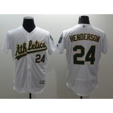 MLB Oakland Athletics 24 Rickey Henderson White Flexbase Authentic Collection Stitched Men Jersey