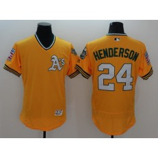 MLB Oakland Athletics 24 Rickey Henderson Yellow Flexbase Authentic Collection Cooperstown Stitched Baseball Men Jersey