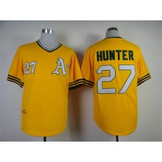 MLB Oakland Athletics 27 Catfish Hunter 1976 Yellow Throwback Men Jersey