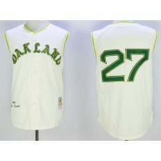 MLB Oakland Athletics 27 Catfish Hunter Cream 1968 Throwback Vest Men Jersey