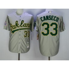 MLB Oakland Athletics 33 Jose Canseco Grey Throwback Men Jersey