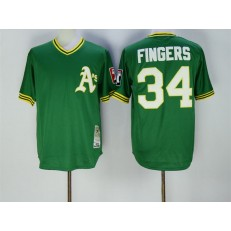 MLB Oakland Athletics 34 Rollie Fingers 1976 Green Throwback Men Jersey
