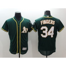MLB Oakland Athletics 34 Rollie Fingers Green Flexbase Authentic Collection Stitched Baseball Men Jersey