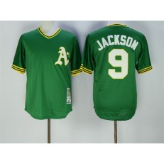 MLB Oakland Athletics 9 Reggie Jackson 1974 Green Throwback Men Jersey