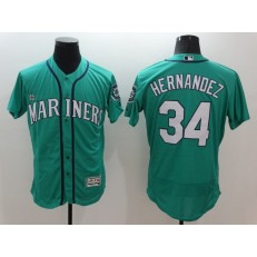 MLB Seattle Mariners 34 Felix Hernandez Retired Teal Green 2016 Flexbase Majestic Baseball Men Jersey