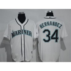 MLB Seattle Mariners 34 Felix Hernandez White New Cool Base Stitched Men Jersey