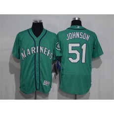 MLB Seattle Mariners 51 Randy Johnson Green Flexbase Authentic Collection Stitched Men Jersey