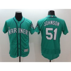 MLB Seattle Mariners 51 Randy Johnson Retired Teal Green 2016 Flexbase Majestic Baseball Men Jersey