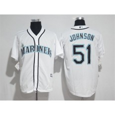 MLB Seattle Mariners 51 Randy Johnson White New Cool Base Stitched Men Jersey