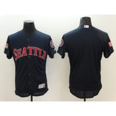 MLB Seattle Mariners Blank Retired Navy Blue Fashion Stars & Stripes 2016 Flexbase Independence Day Men Jersey