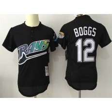 MLB Tampa Bay Rays 12 Wade Boggs Black Throwback Mitchell And Ness Men Jersey
