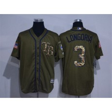 MLB Tampa Bay Rays 3 Evan Longoria Green Salute to Service Stitched Men Jersey