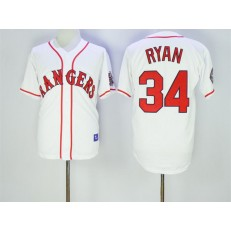 MLB Texas Rangers 34 Nolan Ryan Retired White Stitched 1995 All-Star Patch Cooperstown Throwback Men Jersey