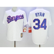 MLB Texas Rangers 34 Nolan Ryan White Throwback Mitchell And Ness Stitched Men Jersey