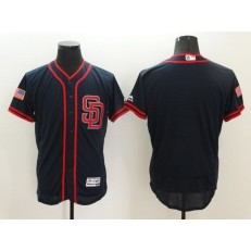 MLB San Diego Padres Blank Navy Blue Fashion Stars & Stripes 2016 Flexbase Independence Day Men Jersey