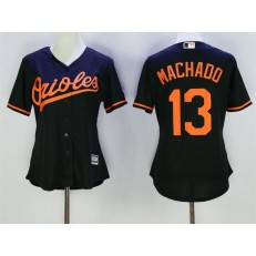 MLB Baltimore Orioles 13 Manny Machado Black Alternate Stitched Baseball Women Jersey