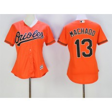 MLB Baltimore Orioles 13 Manny Machado Orange Alternate Stitched Baseball Women Jersey