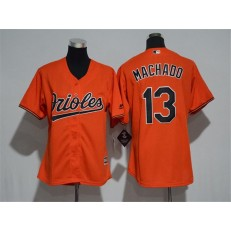 MLB Baltimore Orioles 13 Manny Machado Orange Home Stitched Women Jersey
