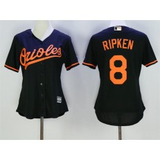 MLB Baltimore Orioles 8 Cal Ripken Black Alternate Stitched Baseball Women Jersey
