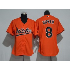 MLB Baltimore Orioles 8 Cal Ripken Orange Home Stitched Women Jersey