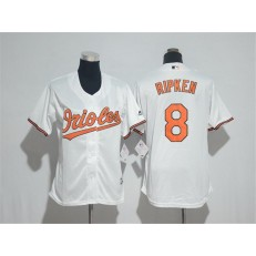MLB Baltimore Orioles 8 Cal Ripken White Home Stitched Women Jersey