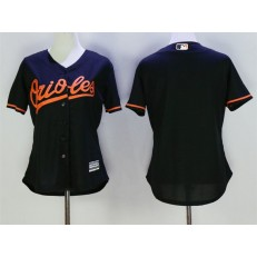 MLB Baltimore Orioles Blank Black Alternate Stitched Baseball Women Jersey